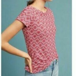 Anthropologie Postmark Embroidered Tee Red Sz XS